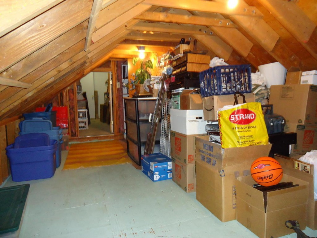 Attic overflowing with boxes of storage