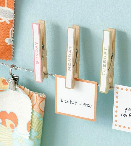 a unique and quirky way in which attaching a peg to some string with totes attached can make for a creative calendar