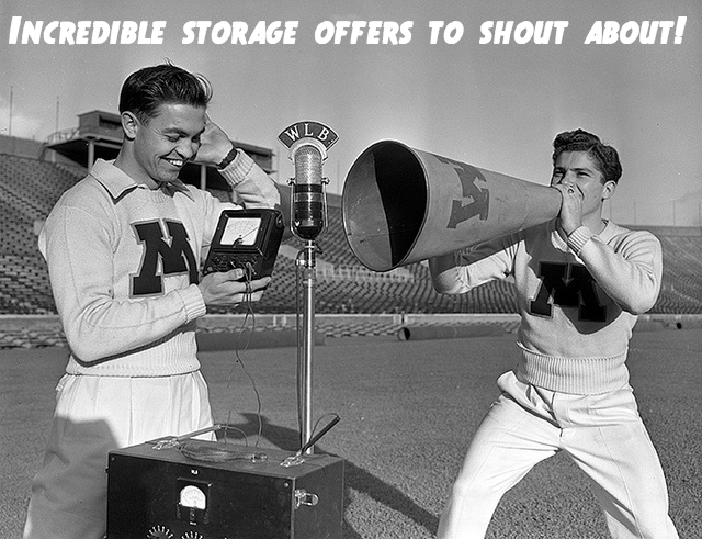 Retro image, modified to inform customers about our cheap storage options