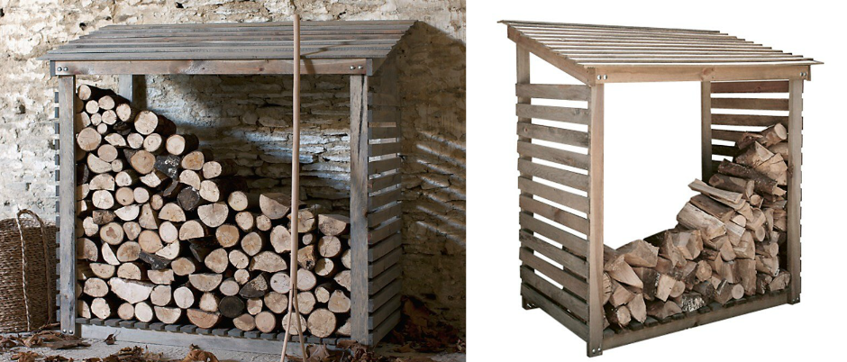 Image showcasing log store courtesy of Slatted screen fencing.